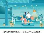 family evening on terrace... | Shutterstock .eps vector #1667422285