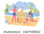 family is building sand castle... | Shutterstock .eps vector #1667430022