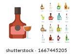 bottles of alcoholic drinks...   Shutterstock .eps vector #1667445205
