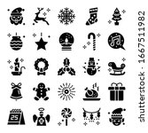 christmas glyph vector icons...