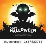 happy halloween party poster ...   Shutterstock .eps vector #1667533768