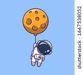 astronaut floating with moon... | Shutterstock .eps vector #1667538052