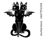 occult black cat with two heads ... | Shutterstock .eps vector #1667551318