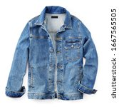Small photo of Stylish Lightweight Blue Jean Jacket Button Closure Isolated on White. Modern Stonewashed Denim Coat with 2 Welt Pockets & 1 Chest Pocket Front View. Warm Cotton Outwear. Best Classic Outdoor Clothing