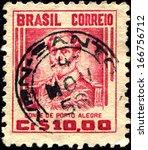 Small photo of BRAZIL - CIRCA 1941: A stamp printed in the Brazil shows Manuel Marques de Sousa, Count of Porto Alegre, Soldier, Politician, Abolitionist and Monarchist, circa 1941