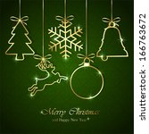 Golden Christmas Elements On...