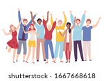 group of people standing... | Shutterstock .eps vector #1667668618
