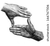 pencil drawing hand frame | Shutterstock . vector #166767506