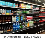 Small photo of Nicolas Romero, Estado de Mexico, Edo. Mex. / Mexico - 03 03 2020: Chedraui Supermarket inner cold drinks, showing energy drinks, strongbow ciders, ciel water, jabali beer, penafiel ginger and others