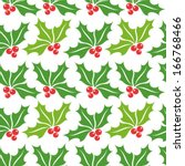Christmas holly berry seamless pattern. Vector illustration - stock vector