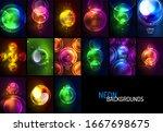 set of glowing neon shiny... | Shutterstock .eps vector #1667698675