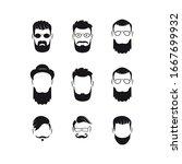 set of bearded men silhouette...   Shutterstock .eps vector #1667699932