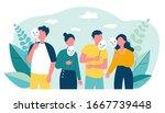depressed guy and girls holding ...   Shutterstock .eps vector #1667739448