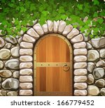 Stone Wall With Arched Medieva...