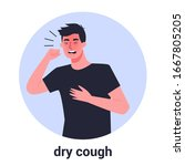 sick man having dry cough. male ... | Shutterstock .eps vector #1667805205
