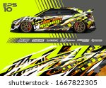 car wrap graphic livery design... | Shutterstock .eps vector #1667822305