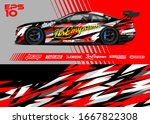car wrap graphic livery design...   Shutterstock .eps vector #1667822308
