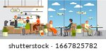 man and woman at airport cafe.... | Shutterstock .eps vector #1667825782