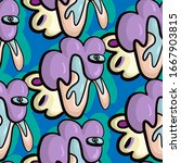 seamless pattern with unusual... | Shutterstock .eps vector #1667903815
