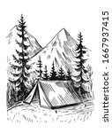 tourist tent in the mountains ... | Shutterstock .eps vector #1667937415