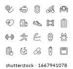 vector set of fitness line... | Shutterstock .eps vector #1667941078