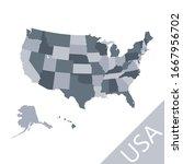 simplified grey vector map of... | Shutterstock .eps vector #1667956702