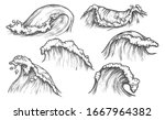 Waves Vector Sketch Ocean...