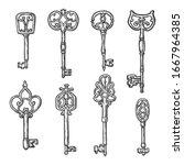 vintage keys vector sketch with ... | Shutterstock .eps vector #1667964385