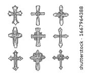 cross sketch  vector ornate... | Shutterstock .eps vector #1667964388