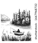sketch of a fisherman on a lake.... | Shutterstock .eps vector #1667968732