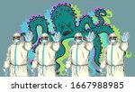doctors in suits biosecurity... | Shutterstock .eps vector #1667988985