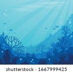 ocean underwater theme... | Shutterstock .eps vector #1667999425