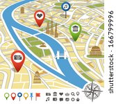 abstract city map with places... | Shutterstock .eps vector #166799996
