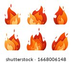 set of fire logos carved out of ... | Shutterstock .eps vector #1668006148