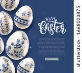 modern easter folk background.... | Shutterstock .eps vector #1668023875
