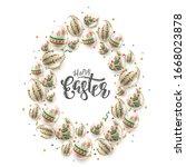 modern easter folk background.... | Shutterstock .eps vector #1668023878
