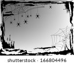cobweb with spiders in black... | Shutterstock .eps vector #166804496