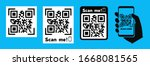 qr code and text scan me ... | Shutterstock .eps vector #1668081565