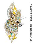 patterned head of fennec with... | Shutterstock .eps vector #1668122962