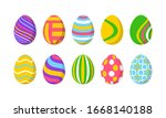 set of 10 color easter eggs... | Shutterstock .eps vector #1668140188