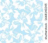 white hibiscus flower on blue...   Shutterstock .eps vector #1668140245
