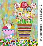 flowers  interior  original...   Shutterstock .eps vector #166815242
