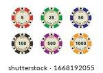 casino coins chip set on white... | Shutterstock .eps vector #1668192055