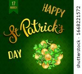 clovers  golden coins and... | Shutterstock .eps vector #1668221572