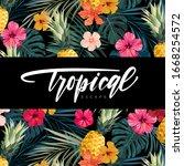 dark vector summer design with... | Shutterstock .eps vector #1668254572