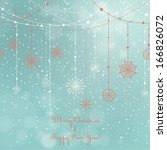 card with hanging snowflakes on ... | Shutterstock .eps vector #166826072