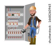 electrician and electric... | Shutterstock .eps vector #1668260965