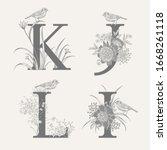letters k j l i  flowers... | Shutterstock .eps vector #1668261118