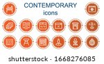 editable 14 contemporary icons... | Shutterstock .eps vector #1668276085