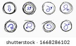 doodle vector arrows in circles.... | Shutterstock .eps vector #1668286102